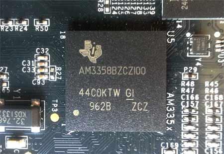 У BeagleBone Black, начиная с  Revision B вместо AM3359, устанавливается процессор AM3358.